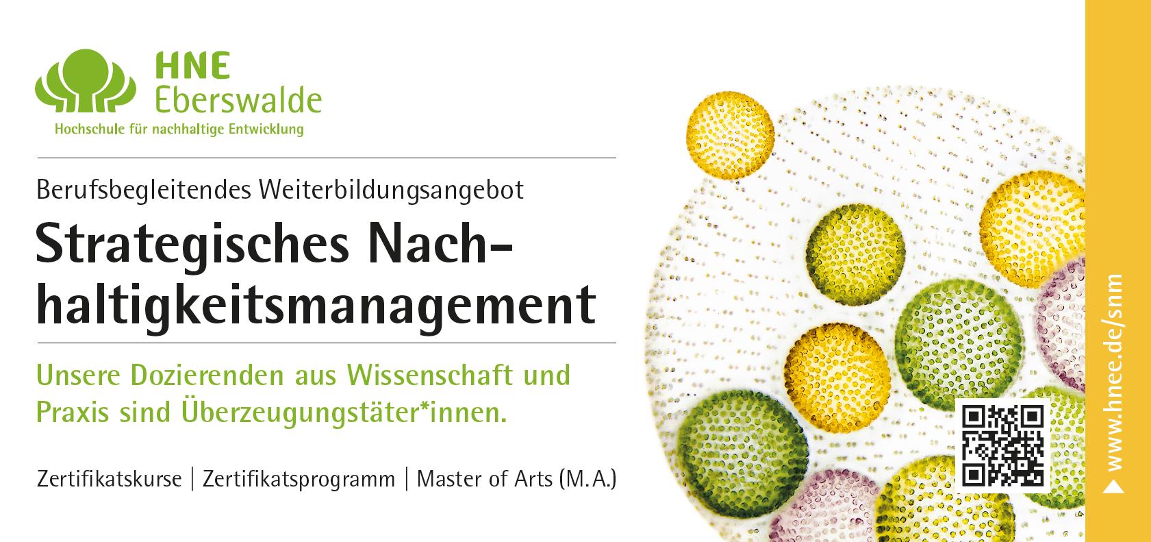Berufsbegleitende Zertifikatskurse zur Entwicklung und zur Umsetzung von Nachhaltigkeitsstrategien starten im September 2015